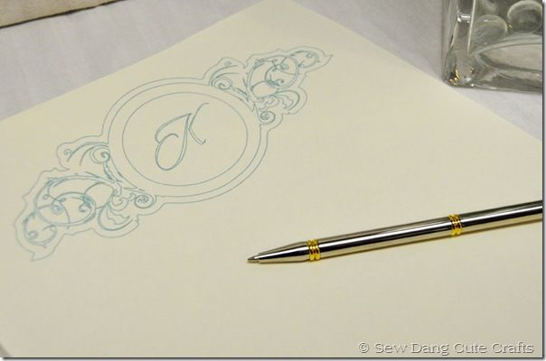 Sketch pen, Silhouette, project idea, monogrammed stationary