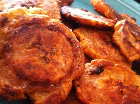 Baked (not fried) tostones (plantain chips)
