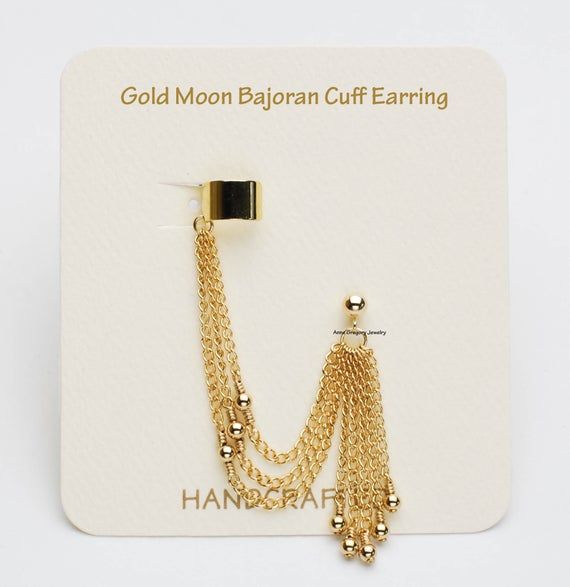 Bajoran Earring, Gold Cuff Earrings, Gold Moon Ear Cuffs, Triple Chain, Gold-Filled, Cuff & Stud, Ta