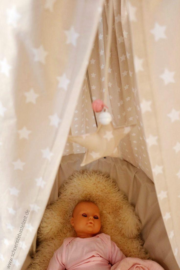 Babywiege in beige - neubezogen von (c) www.schoenstebastelzeit.de