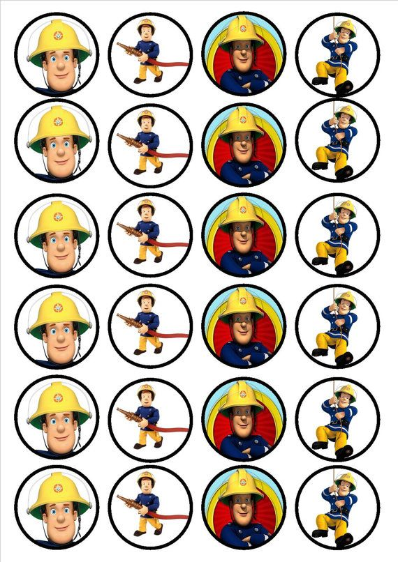 Fireman Sam 24 x 4.5cm Edible Premium Sweetened Vanilla Wafer/Rice Paper Cupcake Decorations/Toppers