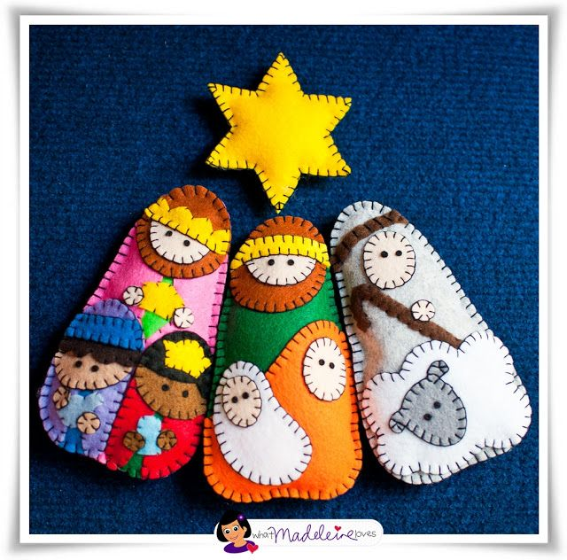 Felt Nativity Ornaments. She has the pattern for these on her blog. Super cute. Could be modified to use craft glue and markers with kids.