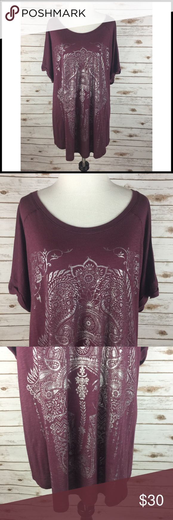 Lucky Brand 2X Maroon Silver Graphic T-Shirt NWT Lucky Brand Graphic Tee - Maroon w/ Metallic Silver Design on Front Women's Size 2X  New with tags - MSRP $39.50 52% Micromodal / 48% Cotton  Super soft and comfy short sleeve t-shirt Crew neck Metallic silver medallion pattern on front Rolled sleeves - batwing/dolman style  Measurements (in inches): Chest (armpit to armpit) - 23 Sleeve (end to shoulder seam) - 12 Length (back of neck to bottom hem) - 30.5 Lucky Brand Tops Tees - Short Sleeve