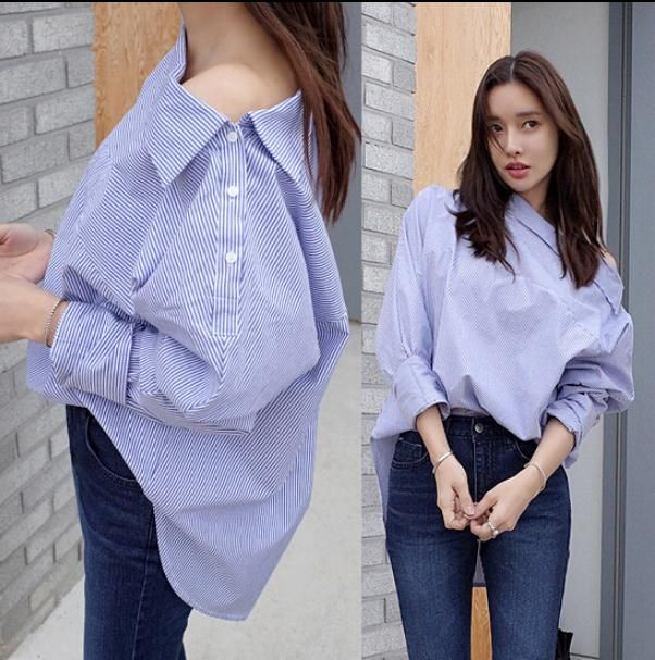 2016 Spring Women Shirts Striped Website Asymmetric Strapless Neckline Sexy Side Buttons Ship Blouse Shirt Blue Grey White 8003 - http://fashionfromchina.net/?product=2016-spring-women-shirts-striped-website-asymmetric-strapless-neckline-sexy-side-buttons-ship-blouse-shirt-blue-grey-white-8003