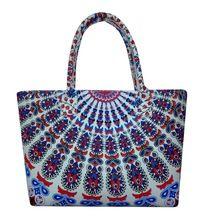 Indian handmade mandala standard size cotton tote bag