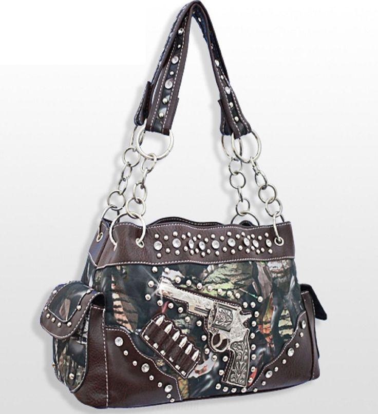 Brown Trim Forest Print Western Style Belt Buckle Accented Rhinestone Purse Bag #BNBNaturalCamo #Satchel