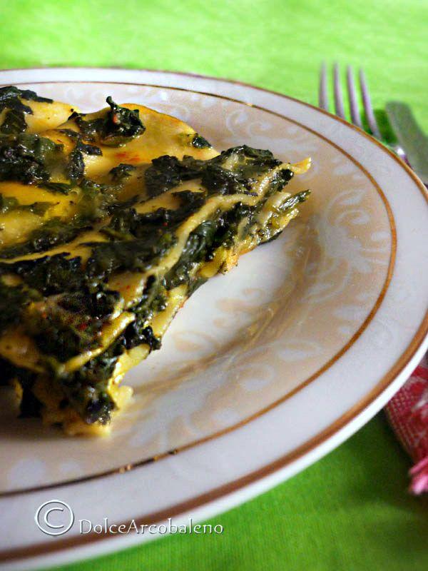 Una fragrante lasagna agli spinaci e mozzarella filante con un piccolo segreto. A fragrant lasagna with spinach and mozzarella cheese with a little secret