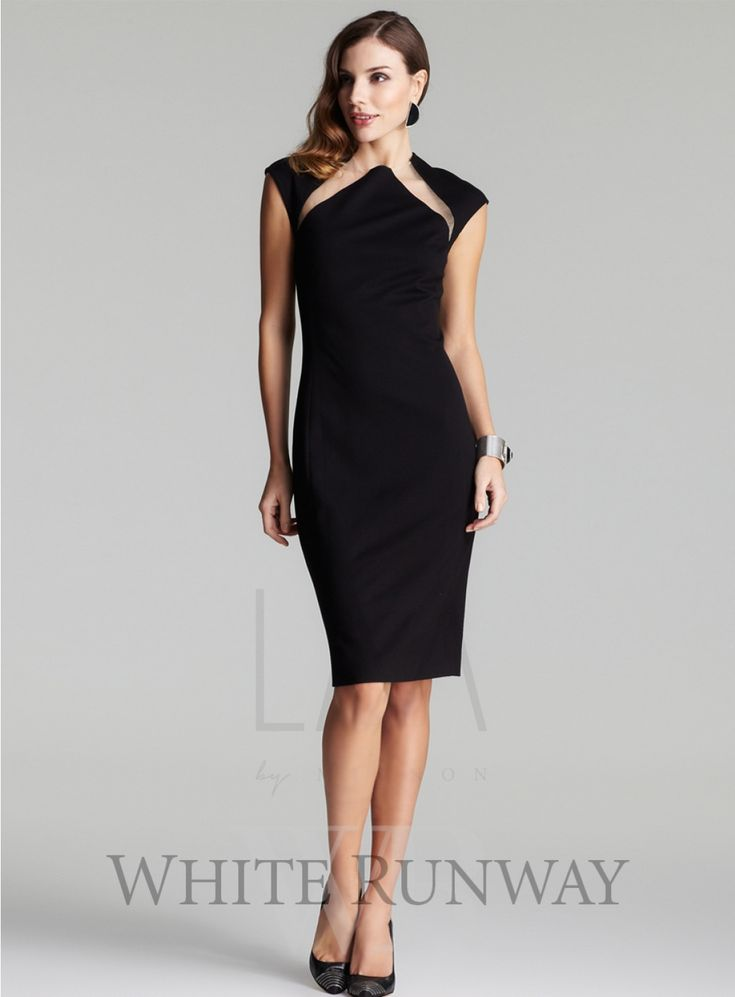 Bree Dress. An elegant cocktail length dress. A little black dress featuring illusion cutouts on front and back, cap shoulders. Available in Black.