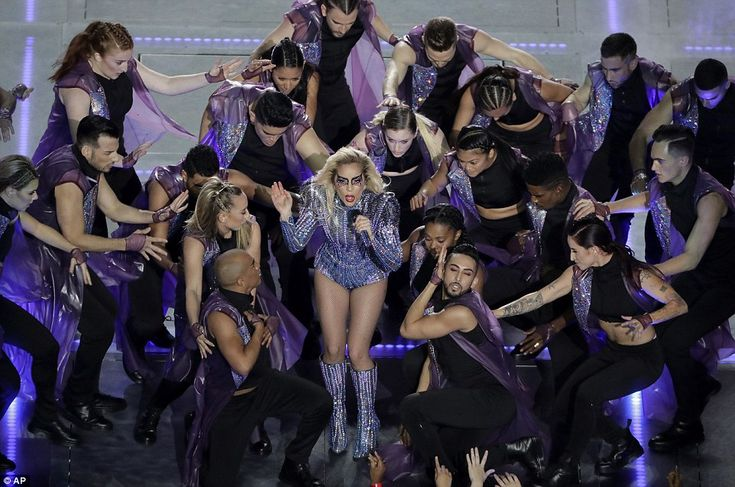 """LADY GAGA SUPER BOWL 51 2017 Halftime Show. Music speaks for itself: Her hit """"Born This Way"""" became a gay rights anthem but in the context of Sunday's show fit into the idea of accepting differences, a thread through much of the game's commercial messaging"""