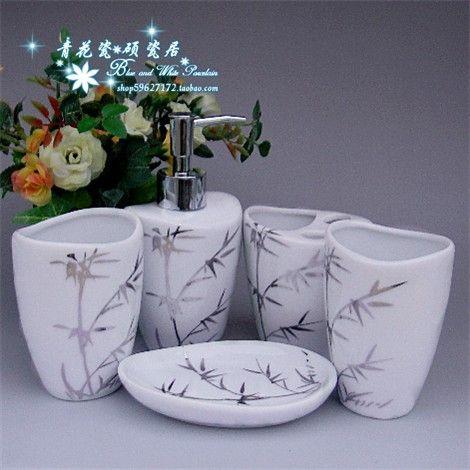 Luckybamboo banheiro cerâmica conjunto de cinco peças fontes do banheiro louças sanitárias alishoppbrasil