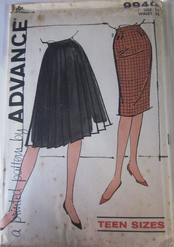Vintage 1960s Advance 9940 Womens Skirt Pattern by Denisecraft, $15.99