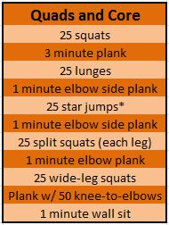 *Awesome Quads & Core workout. Sprain safe if you do butt-lifts instead of the star jumps. Also pistol squats on non injured leg+just 1 min standing on injured leg 4 stage7. Stage 10=KILLER.