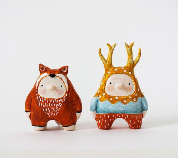 Animal figurine - Fox boy - Paper clay miniature - Woodland art toy