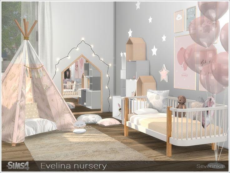 Um conjunto de móveis para o design de um quarto de bebê no estilo escandinavo. CONFIGURAÇÃO …   – sims4 cc
