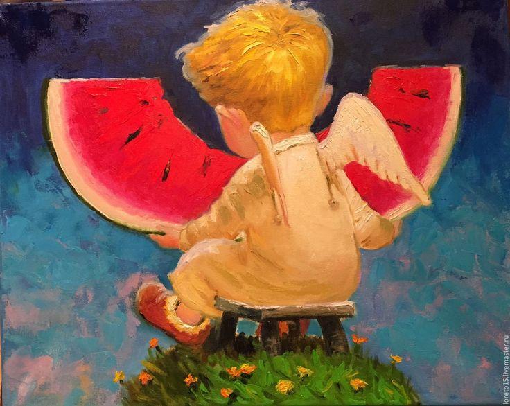Купить Ангел и арбуз - ярко-красный, синий, арбуз, ангел, ангелочек, картина в детскую