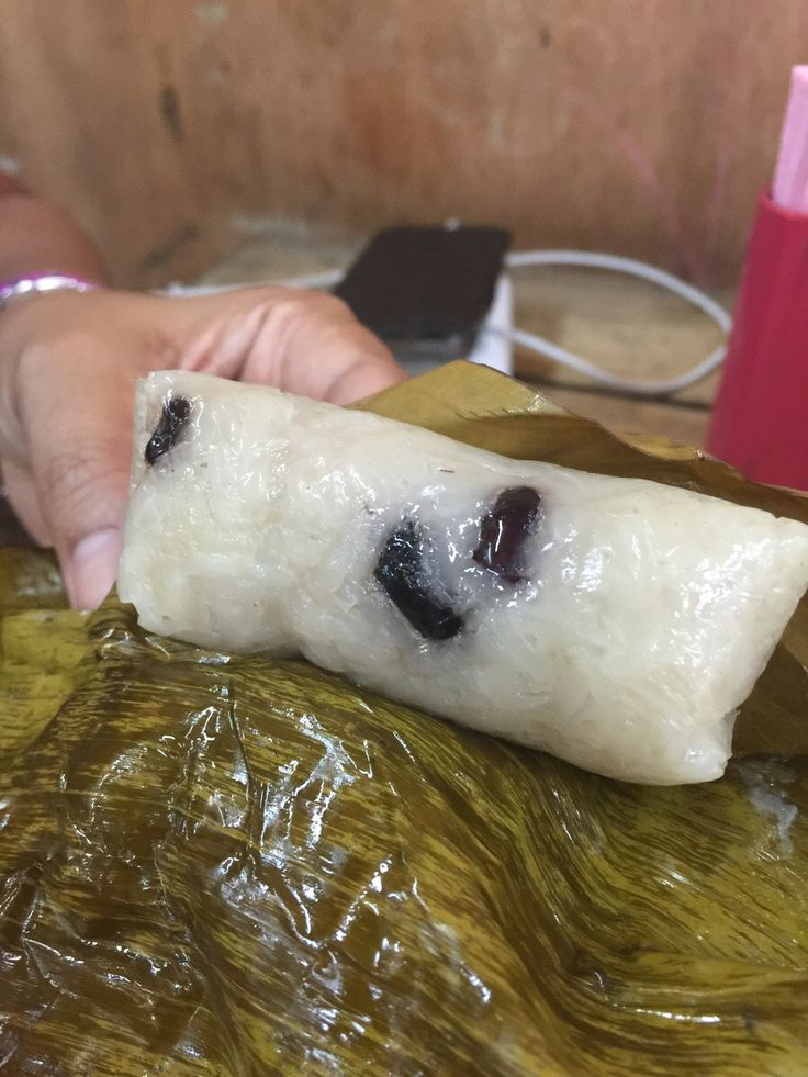This Thai dessert snack of coconut milk-soaked banana sticky rice gently heated wrapped in banana leaf. Only 25c but 10000% delicious!