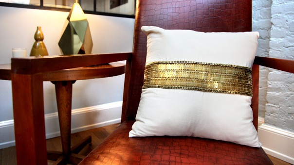 Pillow with metallic ribbon or a great beltNew Home