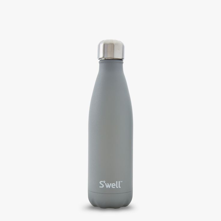 S'well Smokey Quartz reusable water bottle from S'well Stone Collection is coated twice with a durable stone-like texture for added grip.
