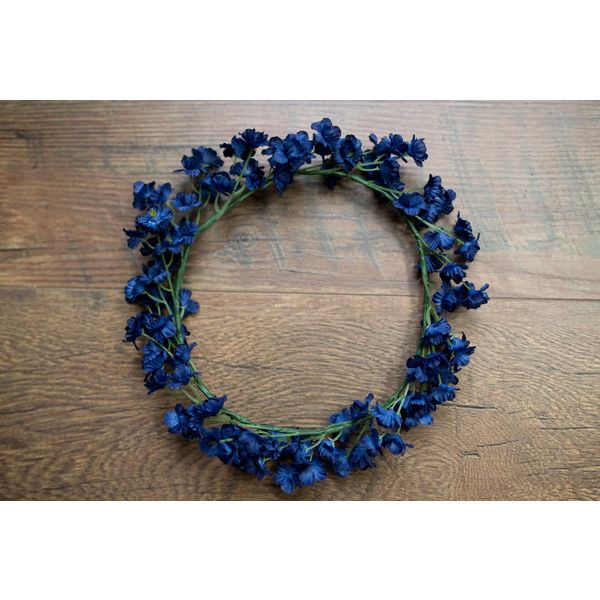 Navy Cluster Flower Crown, Boho Chic Flower Crown, Navy Floral Crown ($10) ❤ liked on Polyvore featuring accessories, hair accessories, flower garland, boho flower crown, bohemian hair accessories, navy hair accessories and flower crown