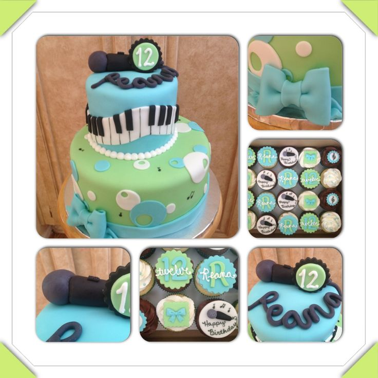 Birthday cake for a music loving 12 year old. Piano keys, microphone, music notes, polka dots, blue and green.  www.facebook.com/cakeitorleaveitcakesbymarianne