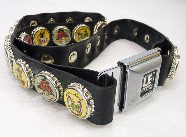 "Little Earth Rubber Stretch Seat Belt Buckle Belt XL 40-44"" Tattoo Bottle Caps #LittleEarth"