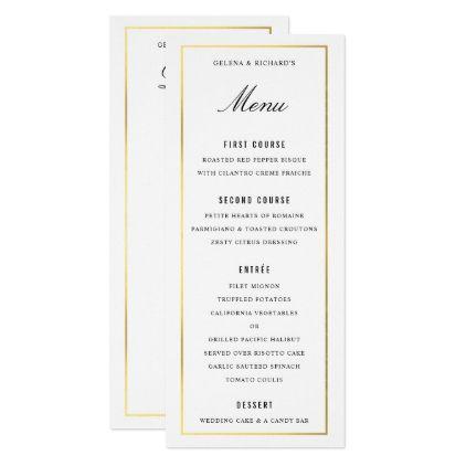 #Gold Border Elegant Wedding Dinner Menu and Drinks Card - #weddinginvitations #wedding #invitations #party #card #cards #invitation #elegant