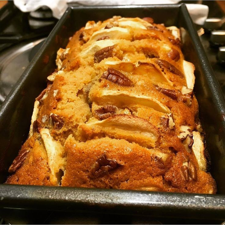 Toffee apple pecan cake anyone? Get this fab recipe by  @sophusonic @bbcgoodfood #foodinspiration #baking