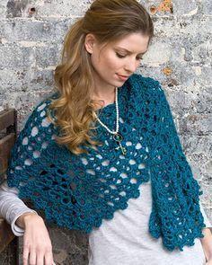 Best Free Crochet » Free Crochet Pattern Graceful Shell Shawl From RedHeart.com