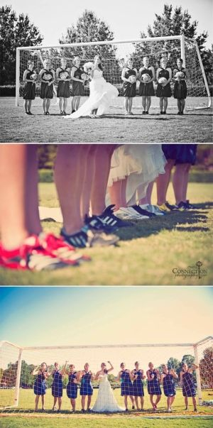 Cute pictures for the soccer fanatic bride with her bridesmaids :)