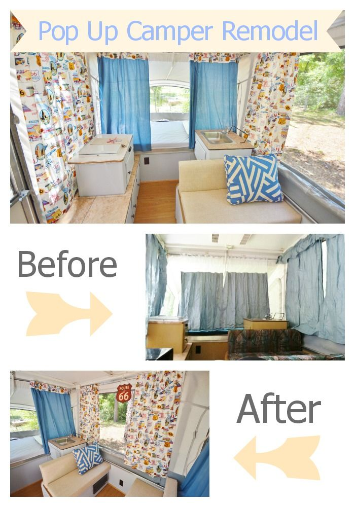 Pop up camper remodel. Before and after shots as well as #DIY tutorials for curtains and cushion covers. #camping #travel: