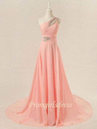 2013 Pink One Shoulder Beaded Long Prom Dresses, One Shoulder Homecoming Dresses, One Shoulder Bridesmaid Dresses on Etsy, $115.00