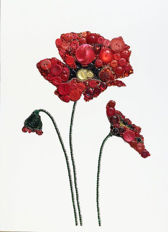 Poppy Button Art Small Buttons & Swarovski by bijouxbuttonsltd