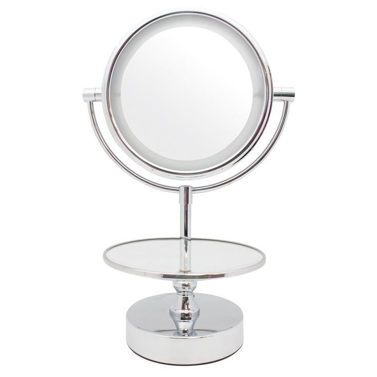 Chrome L E D Lighted Jewelry Stand Mirror Tray To Store