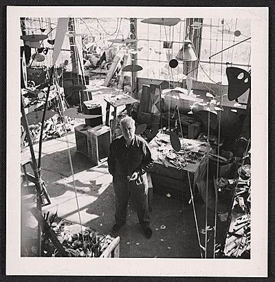 Citation: Alexander Calder in his studio, ca. 1950 / unidentified photographer. Alexander Calder papers, Archives of American Art, Smithsonian Institution.