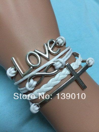 Старинное серебро белый кожаный шнур крест письмо любовь бесконечность манжеты браслет браслеты мода женщин мужчины