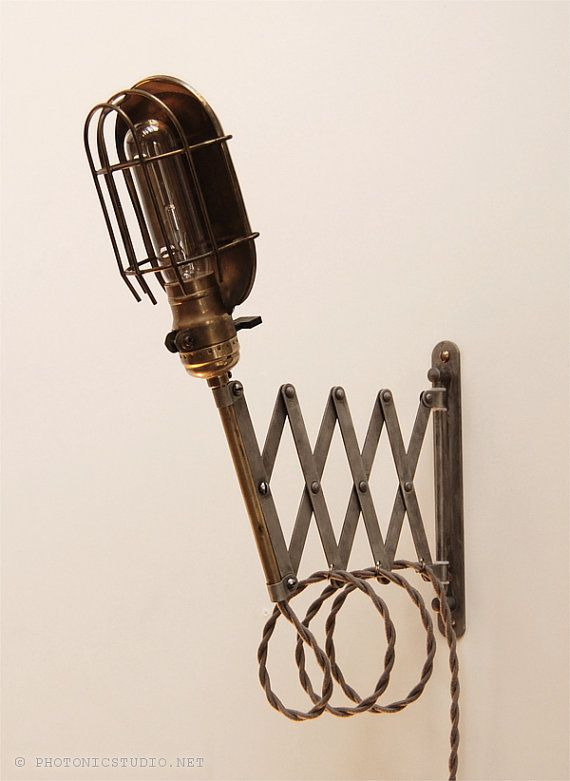 Scissor Lamp! Articulating Adjustable Brass Swing Sconce - Industrial Wall Mount Extension Light - Steel Cage Shade Antique Patina -Style X6