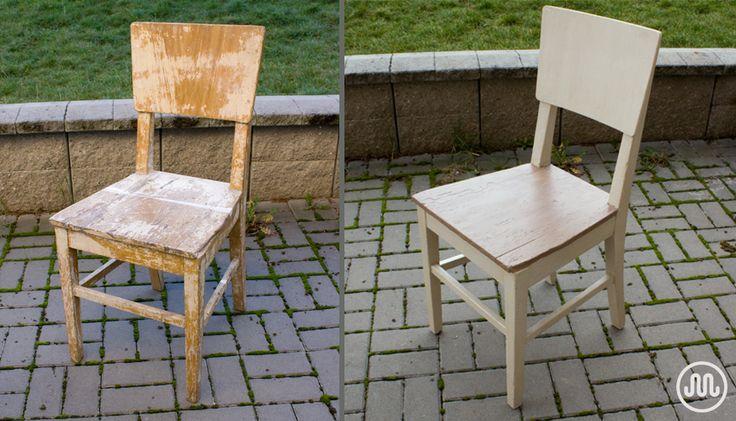 Hodně stará poničená židle ze sklepa kamarádky v nových barvách. Odstín Curracloe Dunes a na sedáku Potato Sack od The Crafty Bird.