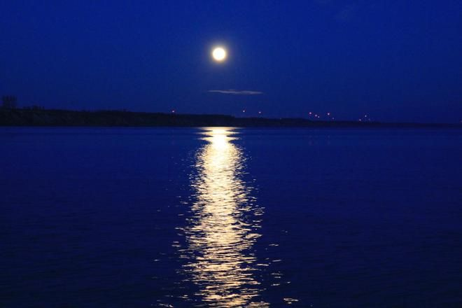 Full Moon over water in Port Burwell
