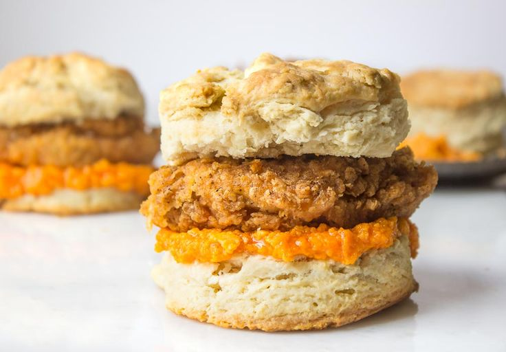 Fried Chicken Biscuit Sandwich With Spicy Honey Butter