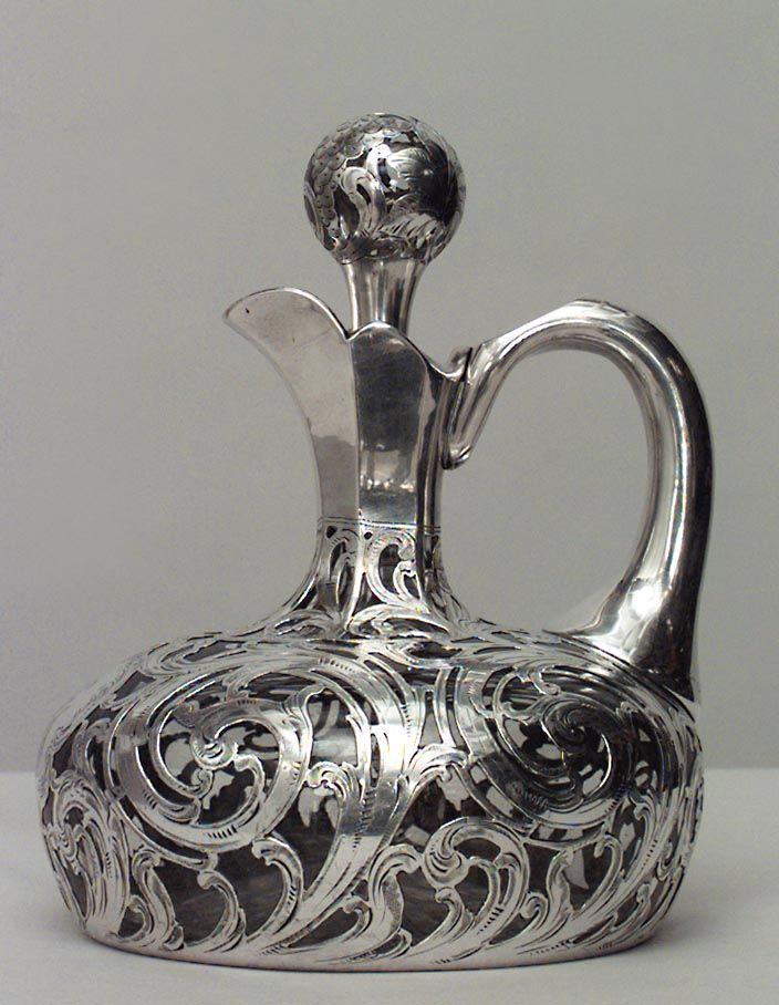 American Victorian Decanter With Silver Deposit Scroll Design With Handle, Spout And Stopper