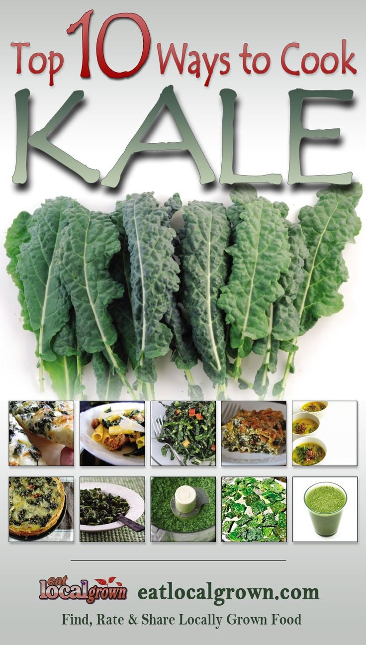 "#Kale is considered to be one of the Super Foods for those concerned with eating healthy, local grown diets. According to Wikipedia, ""Kale is very high in beta carotene, vitamin K, vitamin C, lutein, zeaxanthin, and reasonably rich in calcium. Until the end of the Middle Ages, kale was one of the most common green vegetables in all of Europe."" Click to see the top ten ways to prepare Kale..."