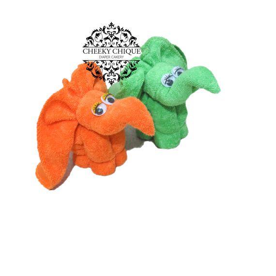 12CT Washcloth Elephant Diaper cake Safari Zoo by CHEEKYCHIQUEBABY, $69.98