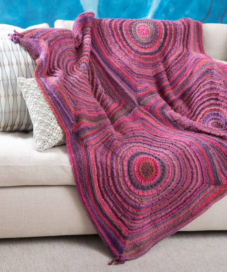 Knitting Patterns Afghans : Squared Shades Throw Free Knitting Pattern from Red Heart Yarn New, New Fre...