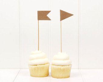 Cupcake Flags, Extra Tall (Kraft) // set of 10