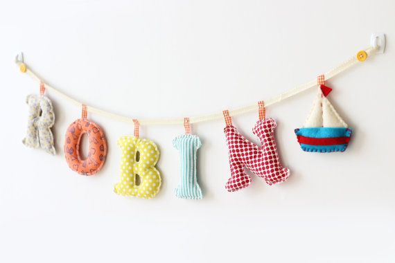 6 letters and felt Doll ornament nursey name by MerrybellDecor