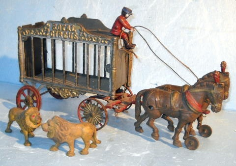 Cast Iron Royal Circus Wagon and Lions