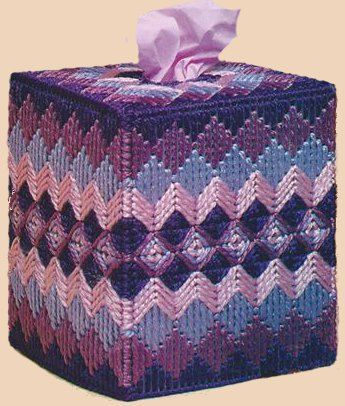 PURPLE/BLUE WAVES - Beautiful Boutique Size Tissue Box Cover - Captive Design - Handmade - Hand Stitched