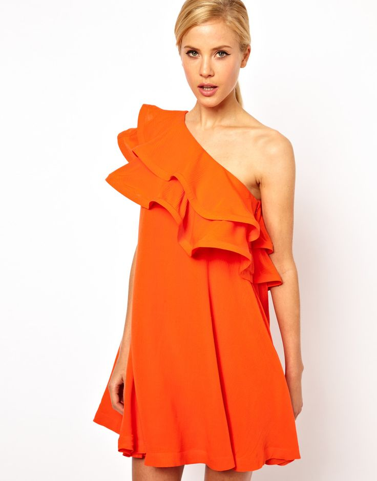 Swing Dress With Extreme One Shoulder Frill- I love this cut, but I wish it was in a different color