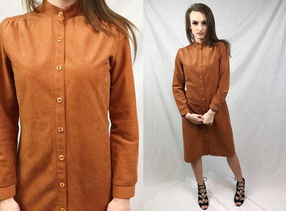 70s mod Dress Shift jurk lange mouw jaren 1970 Medium M omhoog