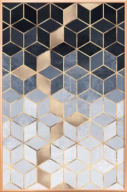 Soft Blue Gradient Cubes – Elisabeth Fredriksson – Poster im Alurahmen – Vanessa